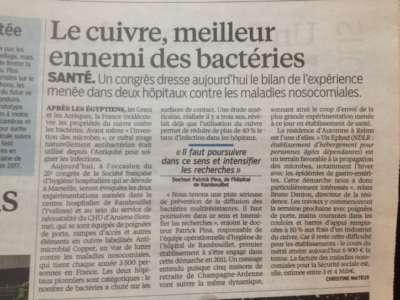 Le corps médical français découvre les vertus du cuivre ! enfin...