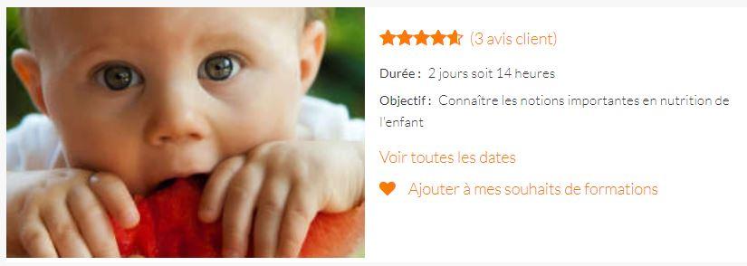 CURSUS LA MERE ET L'ENFANT Formation Alimentation du nourrisson